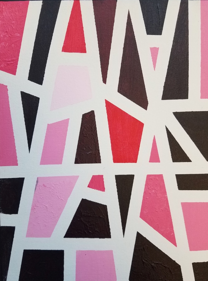 image: red monochromatic painting of triangular shapes
